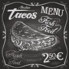 黑白肉夹馍汉堡餐厅装饰画矢量素材