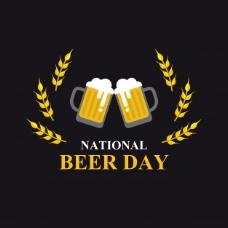 全国啤酒日平面造型矢量插画