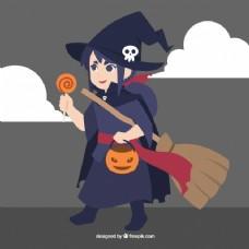 万圣节装扮成女巫的女孩