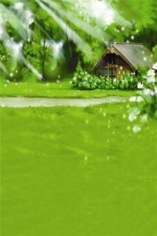 绿色草地H5背景