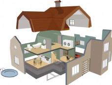 别墅房屋拆解图建筑素材