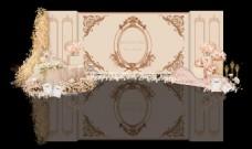 欧式香槟色婚礼迎宾区效果图