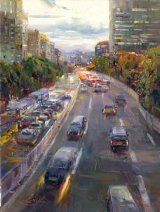 高清街景油画装饰画