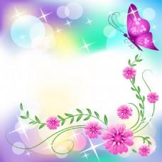蝴蝶花朵梦幻浪漫背景墙