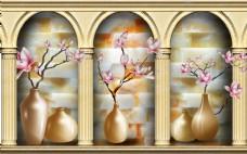 玉兰花花瓶玉雕背景墙素材