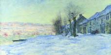 莫奈油画雪景装饰画背景墙