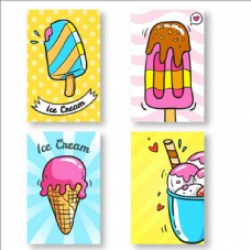 四张冰淇淋手绘卡片
