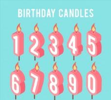 10款粉色立体数字蜡烛矢量素材