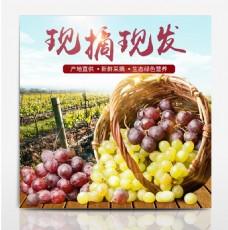 淘宝电商夏季美食生鲜葡萄直通车主图模板