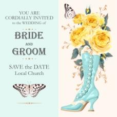 蝴蝶花朵婚庆请柬高清海报矢量设计素材