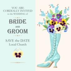 蓝色鞋子婚庆请柬高清海报矢量设计素材