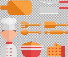 扁平厨房用品图标免抠png透明图层素材