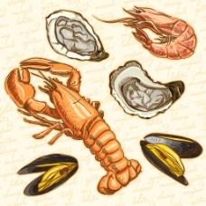 矢量纯正海鲜小龙虾