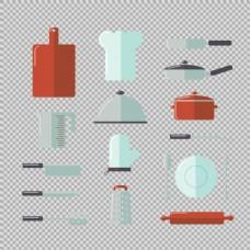 各种扁平风格厨具免抠png透明图层素材