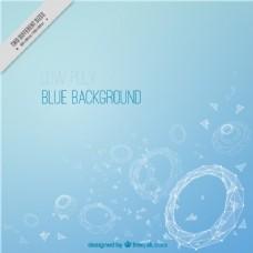 蓝色背景与几何圆形形式