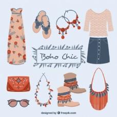在波希米亚风格集可爱的衣服和元素