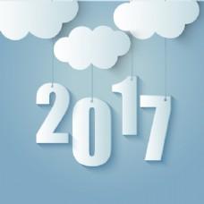 蓝色2017背景云层