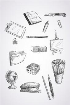 矢量手绘学习用品素材
