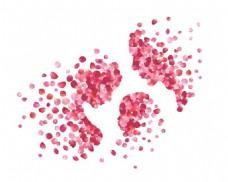 玫瑰花瓣组合一家三口裙海报唯美设计素材