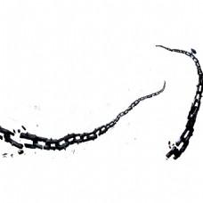 手绘水墨链条元素