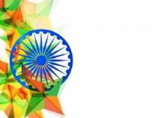 印度国旗颜色的多边形几何三角形与蓝阿育王轮、创作背景与空间添加独立日消息。