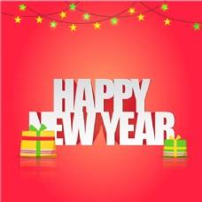 用花环和礼物新年背景