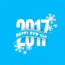 蓝色新年背景装饰雪花