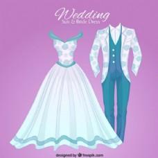 手绘的豪华婚礼服和鸟服饰