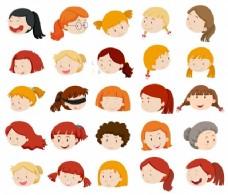 女孩和女人面临插图