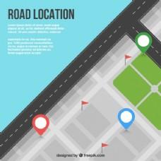 具有三个地标的公路图的俯视图