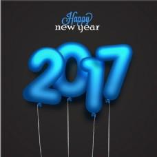 蓝色气球的新年背景