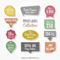 不同价格和折扣的装饰标签的选择