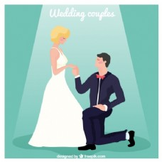新郎新娘跪在地上