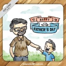 手绘水彩父亲与他的儿子卡
