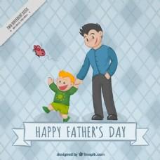 父亲带儿子去散步