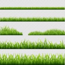 绿色草地花边免抠png透明图层素材