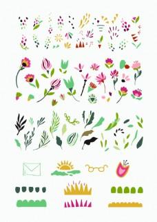 文艺清新花朵树叶矢量设计素材