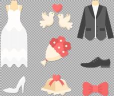 婚礼元素礼服免抠png透明图层素材