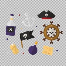 各种海盗元素插图免抠png透明图层素材