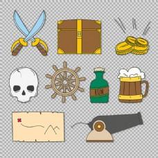 手绘海盗元素图免抠png透明图层素材