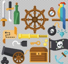 各种海盗元素图免抠png透明素材