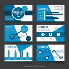 蓝色色调的业务演示模板