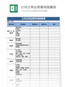 公司日常运营费用预算表Excel文档