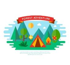 扁平化森林野营帐篷矢量