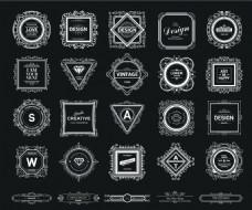 黑白复古华丽装饰Logo设计矢量