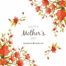 古典花卉水彩背景母亲节