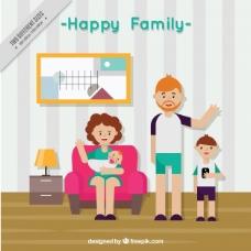 客厅设计中的快乐家庭背景