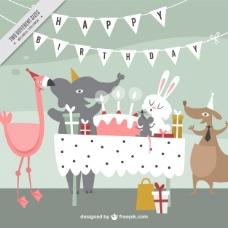 快乐动物的生日背景
