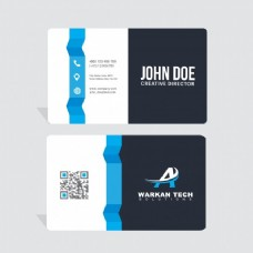 蓝色和黑色形状的现代名片