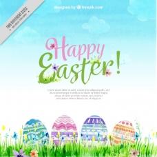 水彩画复活节彩蛋的背景